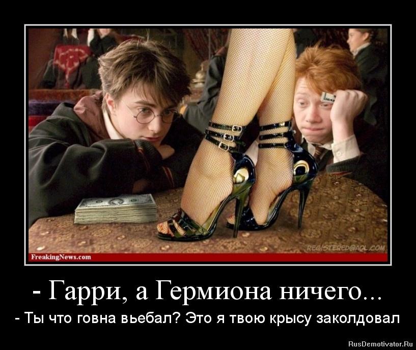 - Гарри, а Гермиона ничего... - - Ты что говна вьебал? Это я твою крысу заколдовал