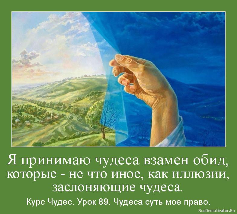 Я принимаю чудеса взамен обид, которые - не что иное, как иллюзии, заслоняющие чудеса. - Курс Чудес. Урок 89. Чудеса суть мое право.
