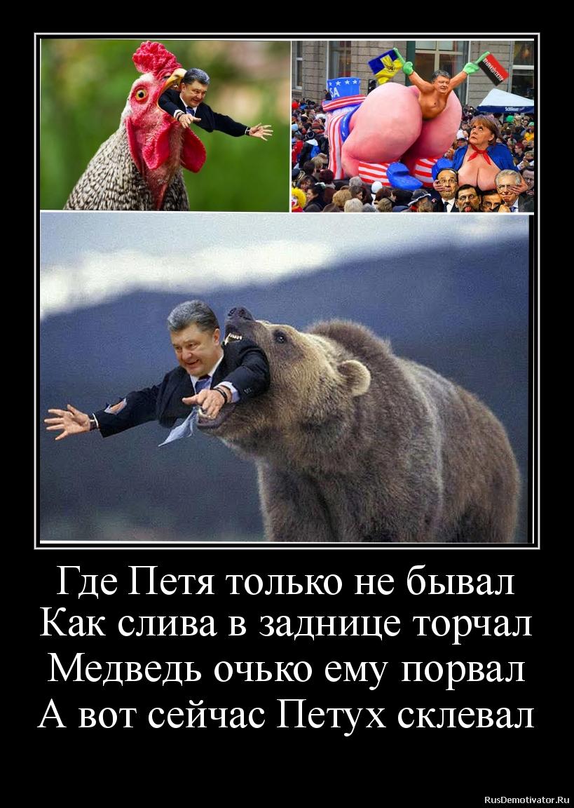 Где Петя только не бывал Как слива в заднице торчал Медведь очько ему порвал А вот сейчас Петух склевал