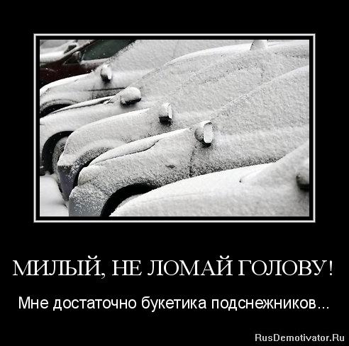 МИЛЫЙ, НЕ ЛОМАЙ ГОЛОВУ! - Мне достаточно букетика подснежников...
