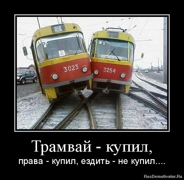 Трамвай - купил, - права - купил, ездить - не купил....