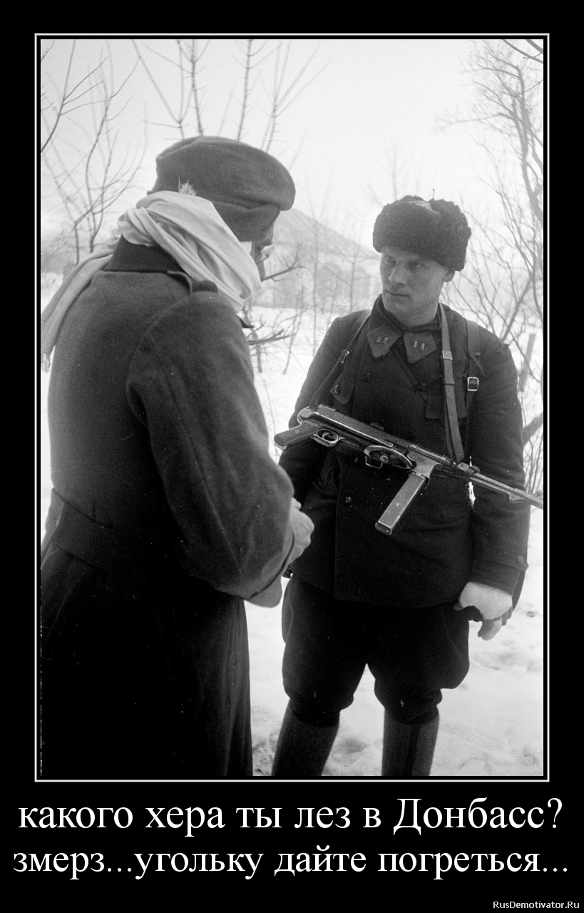 какого хера ты лез в Донбасс? змерз...угольку дайте погреться...