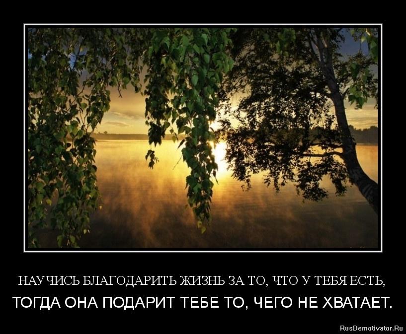 НАУЧИСЬ БЛАГОДАРИТЬ ЖИЗНЬ ЗА ТО, ЧТО У ТЕБЯ ЕСТЬ, - ТОГДА ОНА ПОДАРИТ ТЕБЕ ТО, ЧЕГО НЕ ХВАТАЕТ.