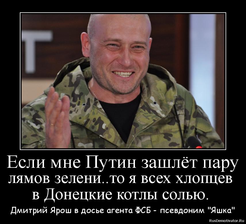 Если мне Путин зашлёт пару лямов зелени..то я всех хлопцев  в Донецкие котлы солью.  - Дмитрий Ярош в досье агента ФСБ - псевдоним