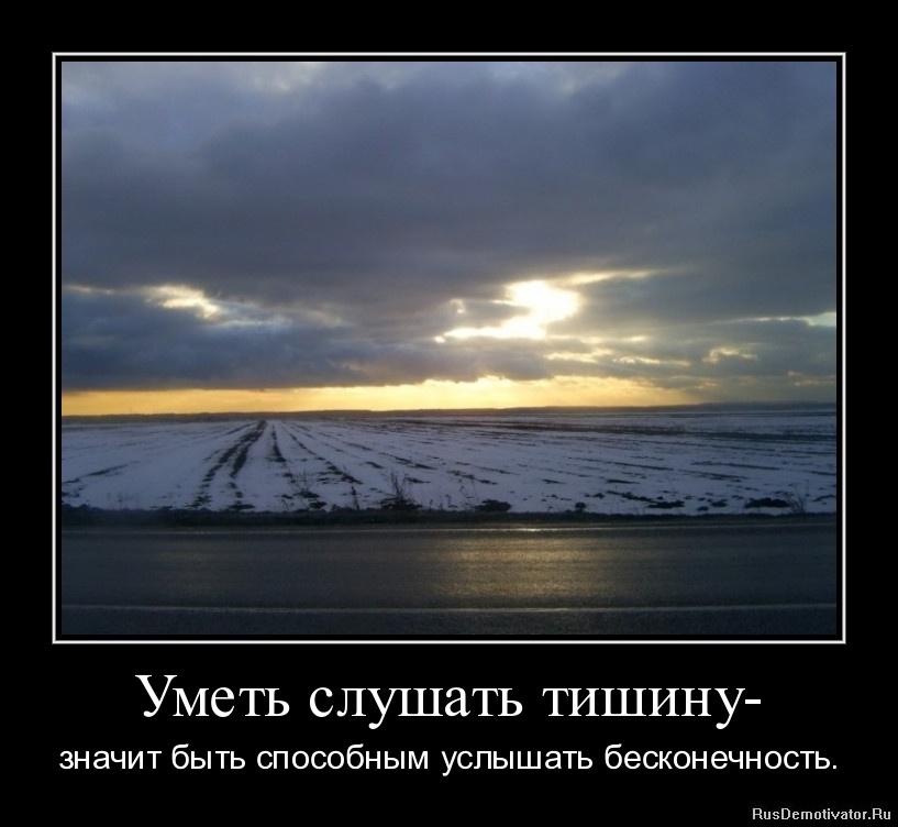 Уметь слушать тишину - значит быть способным услышать бесконечность.