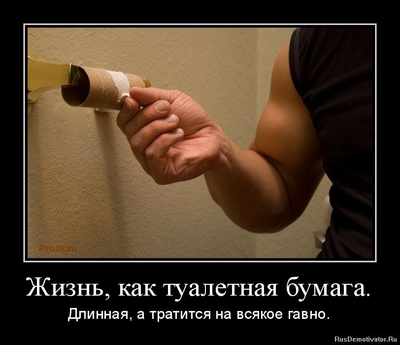 Жизнь, как туалетная бумага. - Длинная, а тратится на всякое гавно.