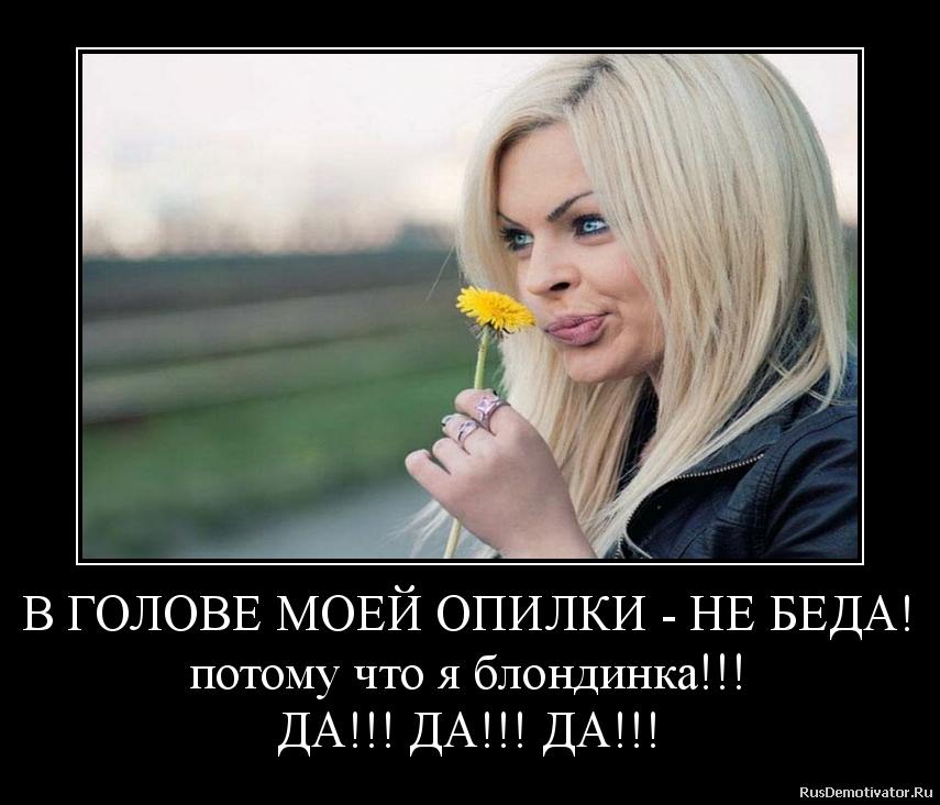 В ГОЛОВЕ МОЕЙ ОПИЛКИ - НЕ БЕДА! потому что я блондинка!!! ДА!!! ДА ...