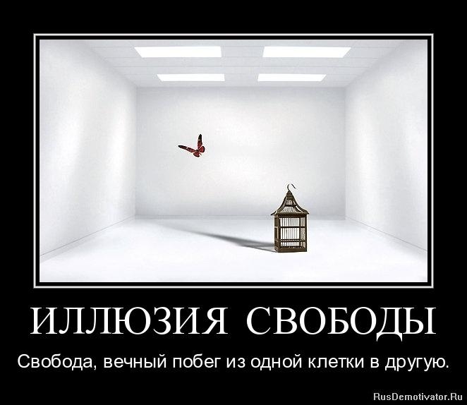 ИЛЛЮЗИЯ СВОБОДЫ - Свобода, вечный побег из одной клетки в другую.