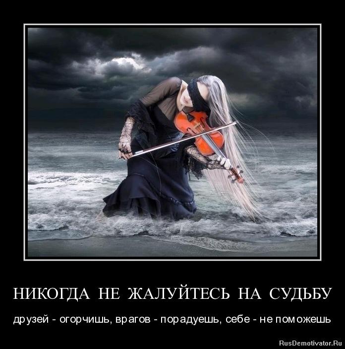 НИКОГДА НЕ ЖАЛУЙТЕСЬ НА СУДЬБУ - друзей - огорчишь, врагов - порадуешь, себе - не поможешь