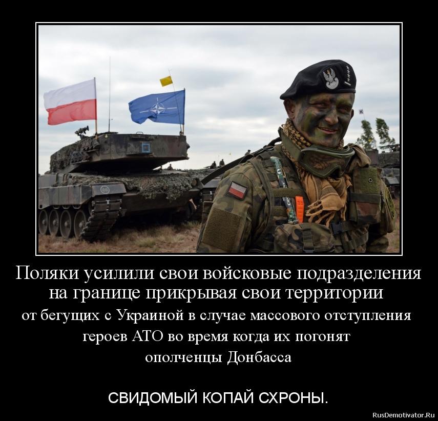 Поляки усилили свои войсковые подразделения на границе прикрывая свои территории   от бегущих с Украиной в случае массового отступления   героев АТО во время когда их погонят  ополченцы Донбасса  - СВИДОМЫЙ КОПАЙ СХРОНЫ.