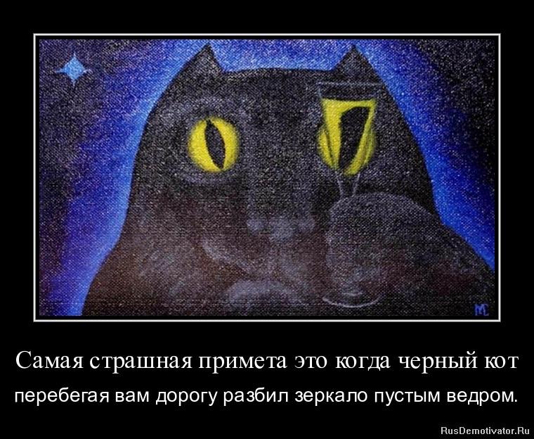 Самая страшная примета это когда черный кот - перебегая вам дорогу разбил зеркало пустым ведром.