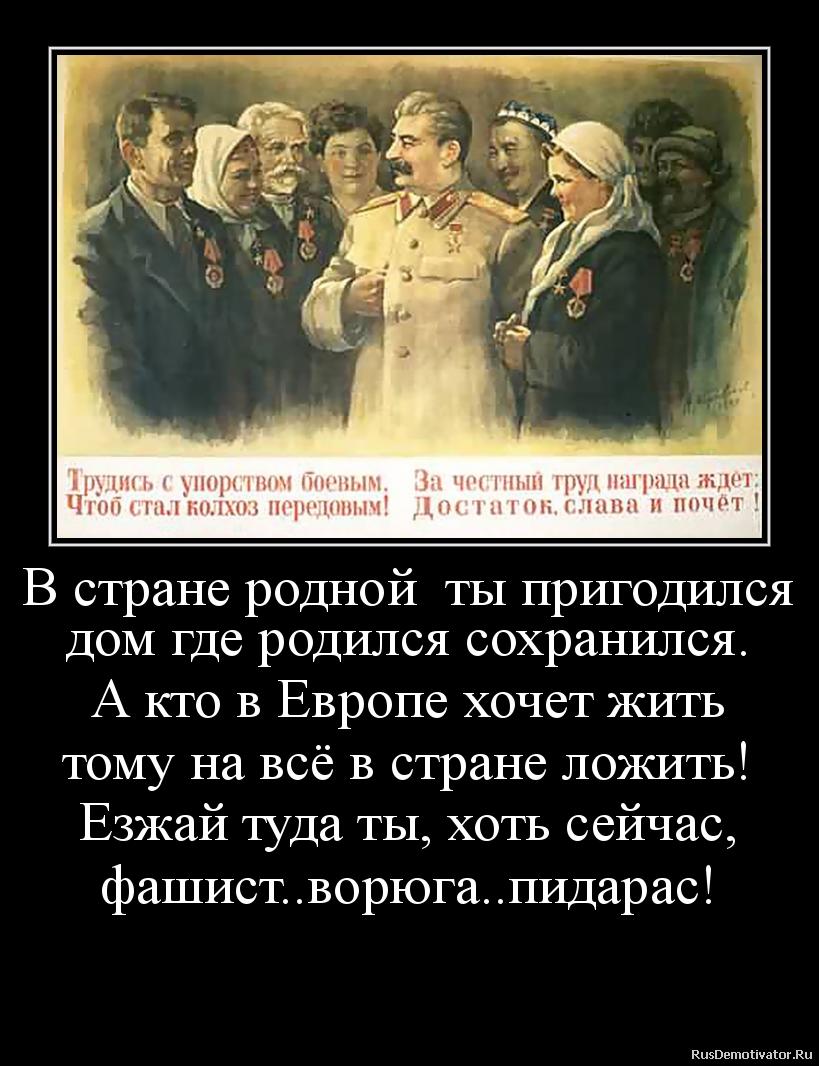 В стране родной  ты пригодился дом где родился сохранился. А кто в Европе хочет жить тому на всё в стране ложить! Езжай туда ты, хоть сейчас, фашист..ворюга..пидарас!
