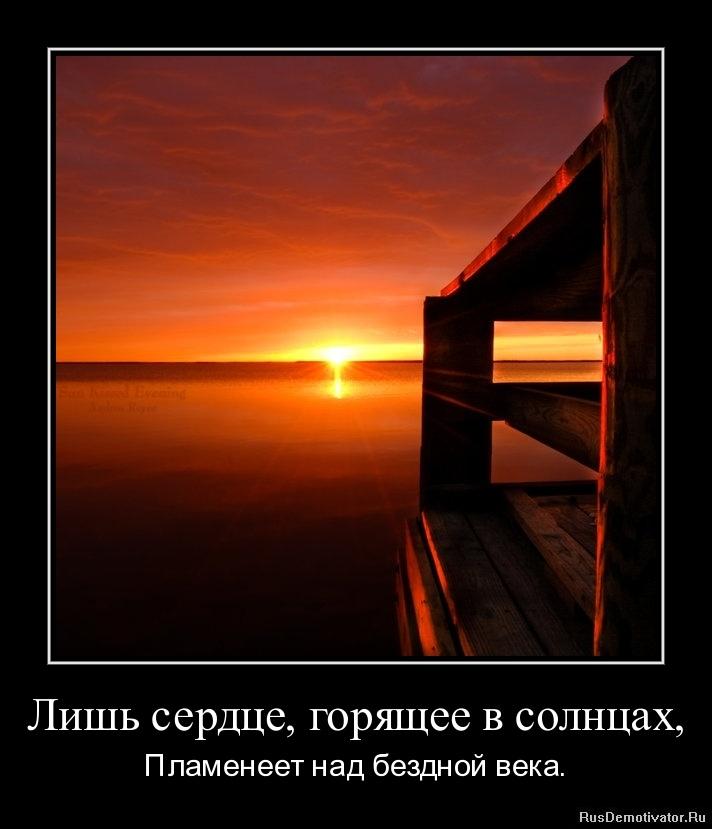 Лишь сердце, горящее в солнцах, - Пламенеет над бездной века.
