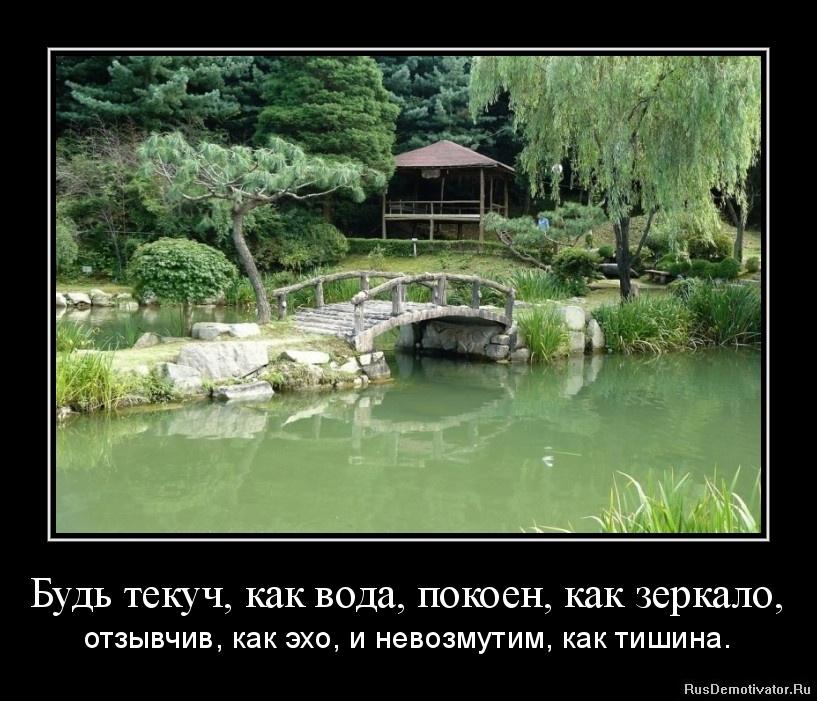 Будь текуч, как вода, покоен, как зеркало, - отзывчив, как эхо, и невозмутим, как тишина.
