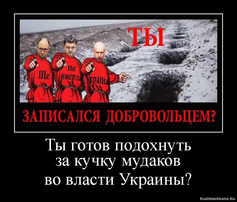 Ты готов подохнуть за кучку мудаков во власти Украины?