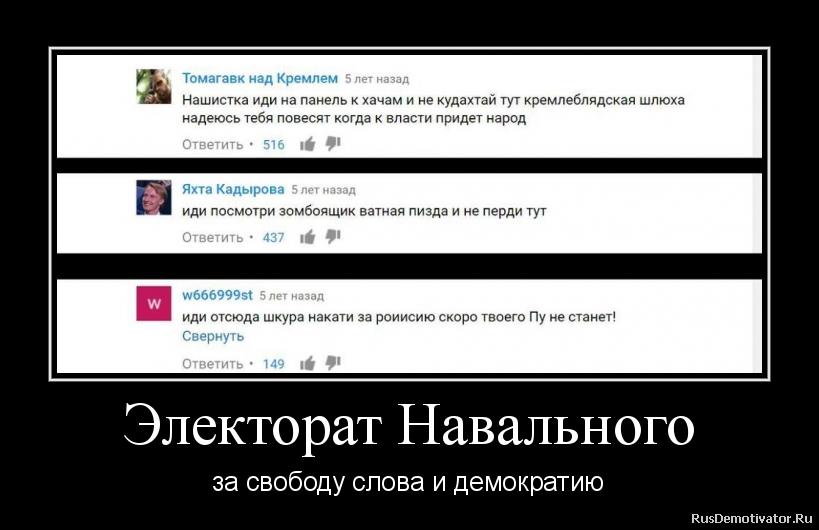 Электорат Навального - за свободу слова и демократию
