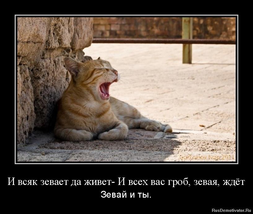 И всяк зевает да живет- И всех вас гроб, зевая, ждёт - Зевай и ты.