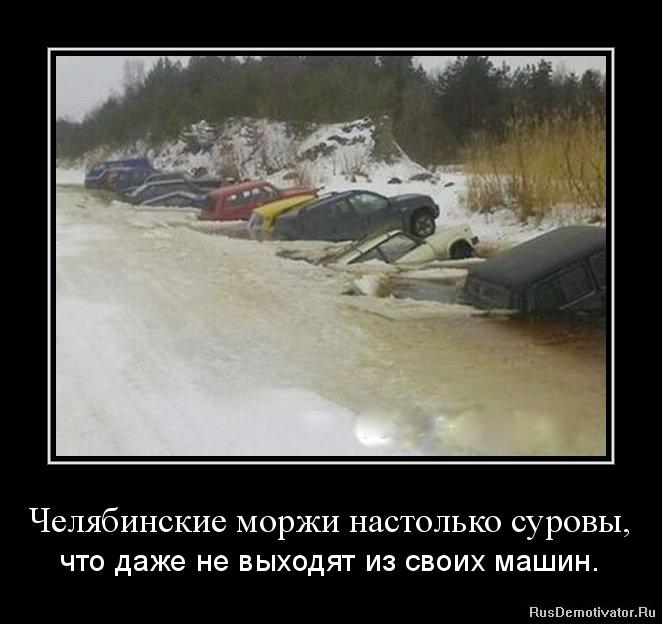 Челябинские моржи настолько суровы, - что даже не выходят из своих машин.