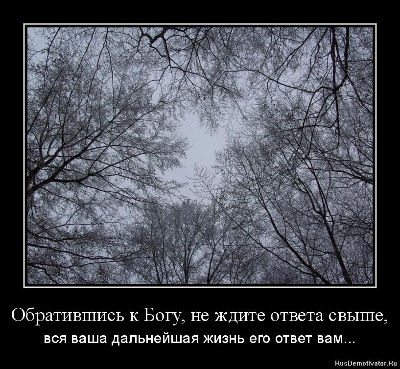 Обратившись к Богу, не ждите ответа свыше, - вся ваша дальнейшая жизнь его ответ вам...
